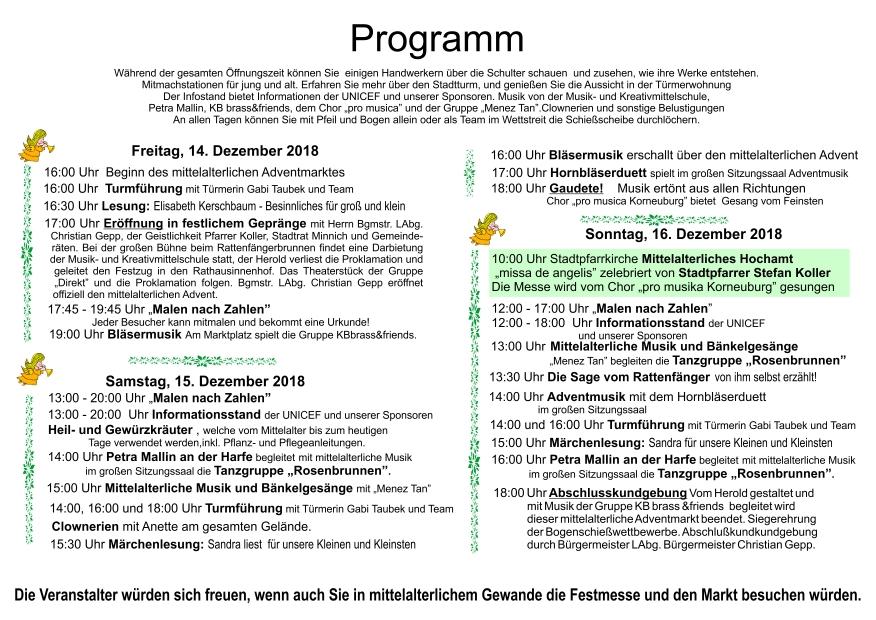 Programm Mittelalterlicher Weihnachtsmarkt Korneuburg 2018