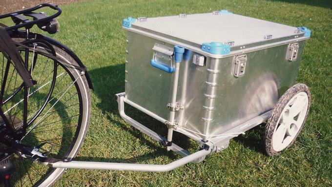 Fahrrad Boxtrailer Eigenbau mit Aluminiumbox