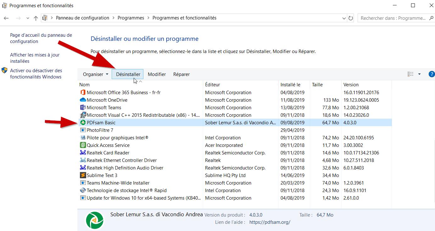 Sélectionnez le logiciel et cliquez sur « Désinstaller ».