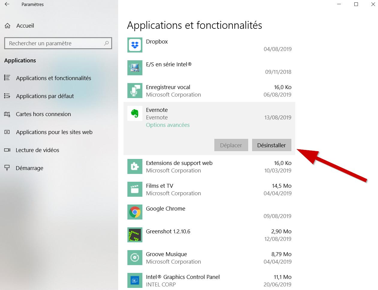 Cliquez sur l'application à désinstaller, puis sur « Désinstaller ». A noter que dans certains cas, l'action n'est malheureusement pas disponible.