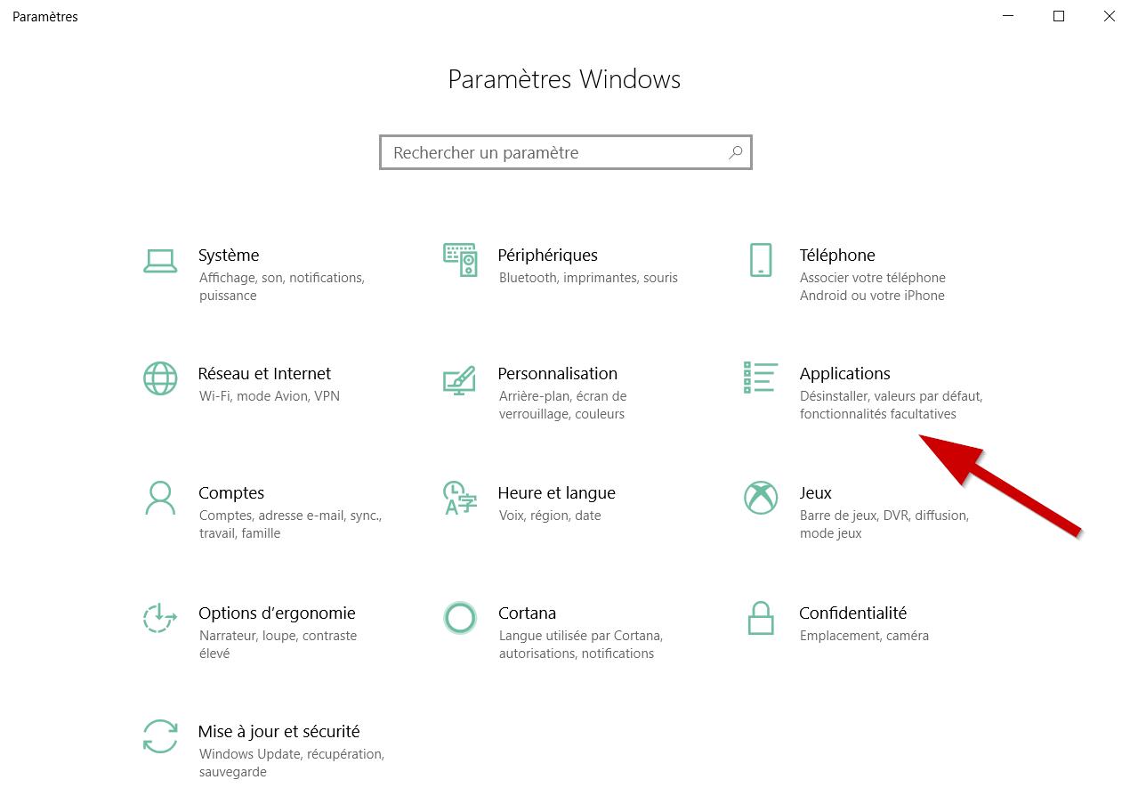 Le menu « Paramètres » s'ouvre, sélectionnez la catégorie « Applications ».