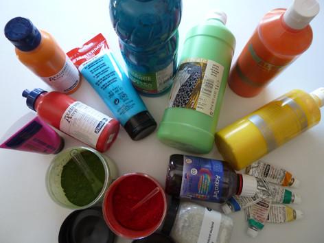Pigmente, Gouache-, Acryl-, Gel- & Aquarellfarben