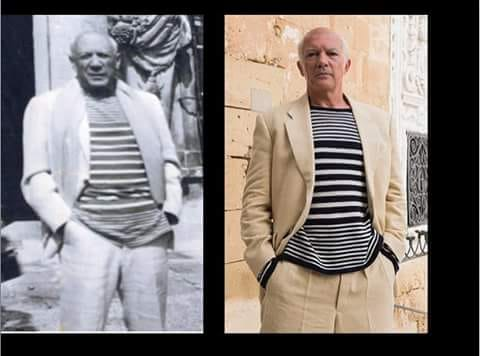 "Multistripes sweater for Antonio Banderas, television series ""Genius"", costume designer Sonu Mishra"