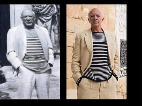 """Multistripes sweater for Antonio Banderas, television series """"Genius"""", costume designer Sonu Mishra"""