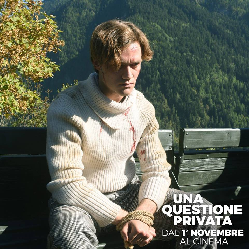 "Sweater for Lorenzo Richelmy, film ""Una questione privata"", directed by Paolo Taviani, costume designer Lina Nerli Taviani"