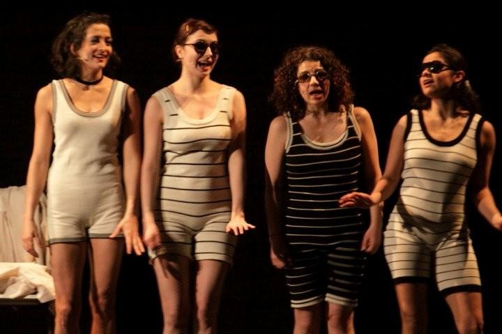 "Swimwear knitted for the show ""Donka"", costume designer Giovanna Buzzi"