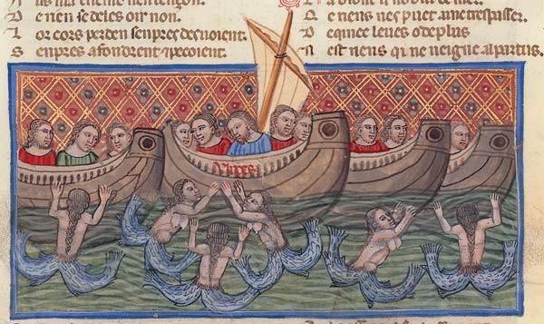 Ulysse séduit par les sirènes, enluminure du Roman de Troie de Benoît de Sainte-Maure, Venise ou Padoue, vers 1340-1350, Bibliothèque Nationale de France, Paris.