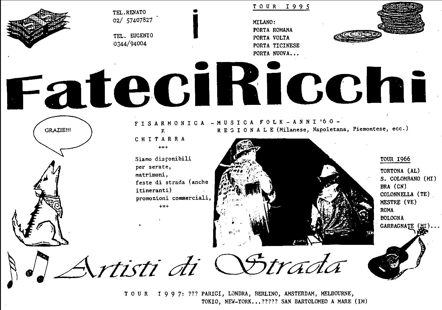 """Volantino pubblicitario de """"I FATECIRICCHI"""""""