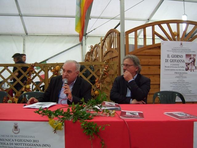 Il Sindaco di Motteggiana Fabrizio Nosari con Gian Paolo Borghi presentano la XIX edizione de il Giorno di Giovanna