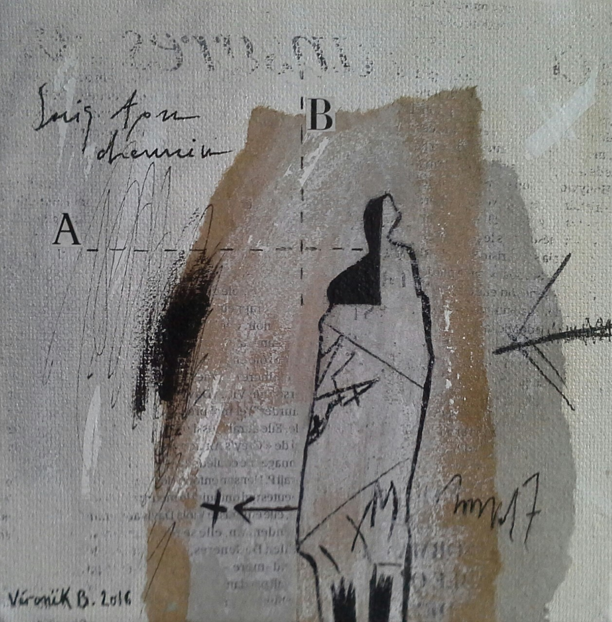 """""""Suis ton chemin"""" (15×15cm) 2016 techniques mixtes sur toile 2016"""