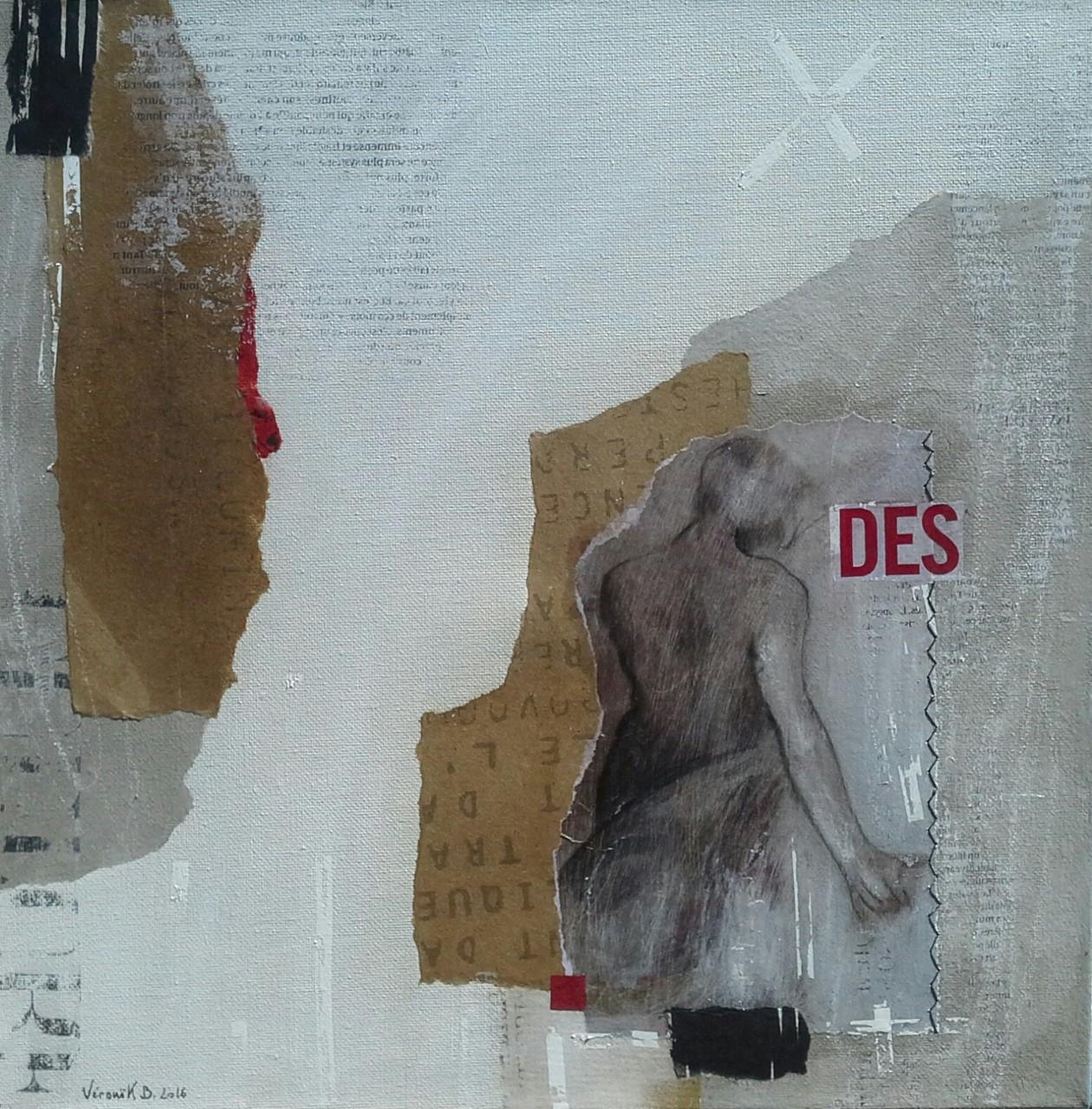 """""""Descendre pour explorer"""" (35x35cm) techniques mixtes sur toile 2016"""