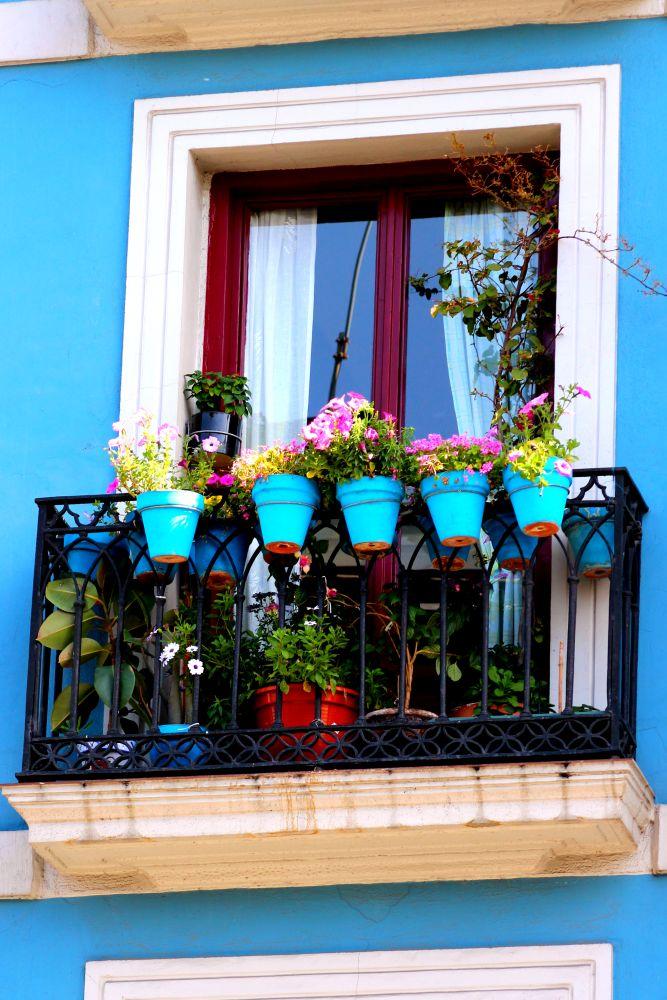 Geschmückter Balkon in Bilbao