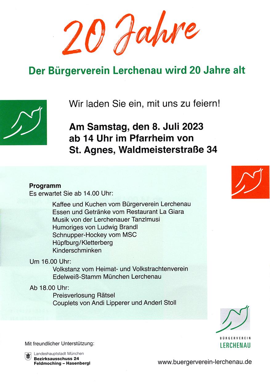 Plakat und Einladung zum Bücherflohmarkt des Bürgervereins Lerchenau.