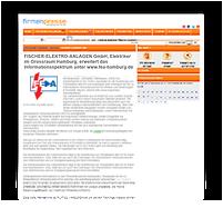 """Grafik: """"Screenshot Presseartikel unterFIRMENPRESSE"""" / FISCHER-ELEKTRO-ANLAGEN - Elektriker Meisterbetrieb im Großraum Hamburg"""