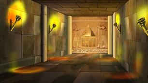 ピラミッド内部。これは私がヴィジョンで見たものと近いです。この奥の壁を突き抜けて宇宙次元へ行きます。見えないですがこの部屋の中にもいろいろな存在がいます。