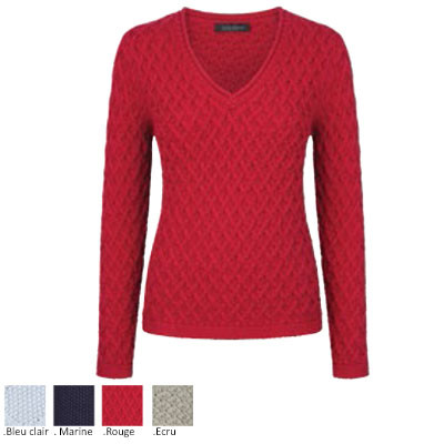 "Pull coton rouge ""Trellis"" col V"