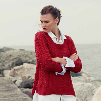 "Pull coton rouge ""Ardara"""