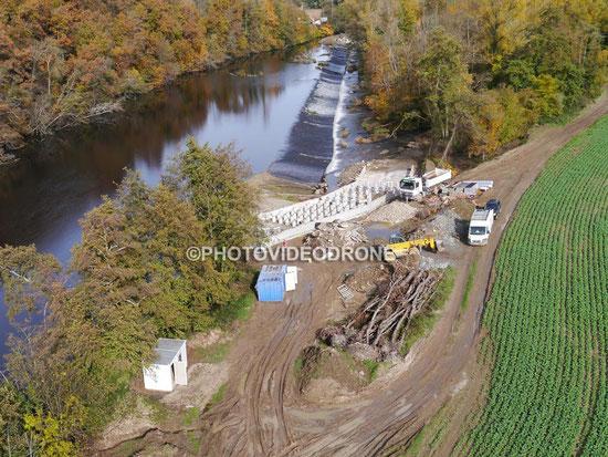 Photo et vidéo en drone de la passe à poisson sur la Sioule au Moulin Brelan Saint Pourçain sur Sioule Allier-Photovideodrone