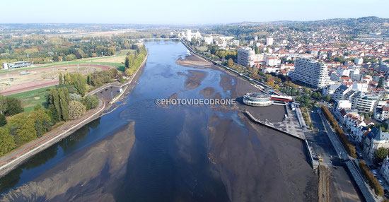 Photo et video en drone de la vidange du Lac d'Allier à Vichy - Photovideodone