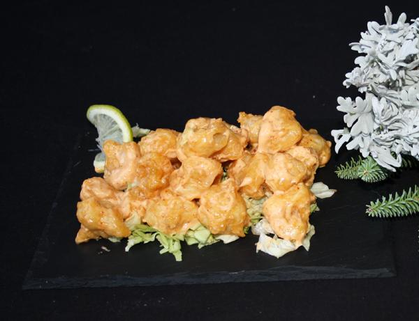 Tiger tempura - Tempura de langostinos con salsa kimuchi