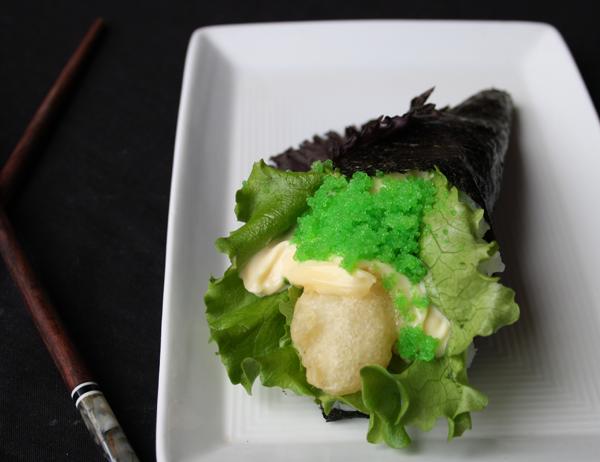 Ebi ten - Gamba tempurizada, mayonesa, lechuga y masago wasabi