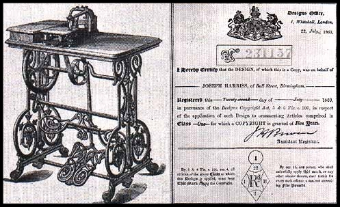 "Shown here is the original design registration certificate for Harris' ornamental treadle, dated 22nd July 1869. The woodcut illustration accompanies the document. This same treadle was later adapted for use with the ""Challenge"" model."