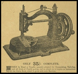 extract from an advert for WJ Harris & Co, Bassinettes & sewing machines July 1885