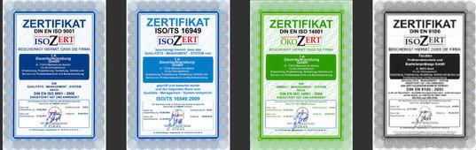 Matrix zertifizierte Unternehmen nach: DIN EN ISO 9001, ISO/TS 16949, DIN EN ISO 14001, DIN EN 9100