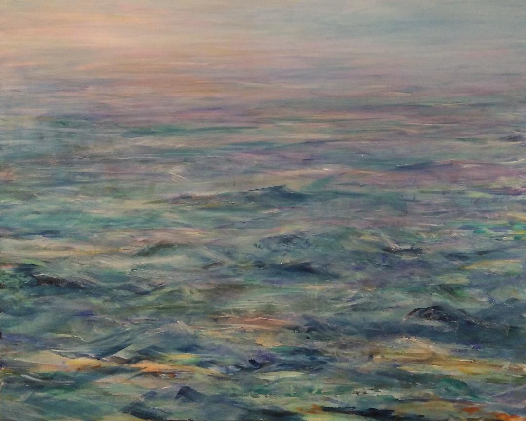 Auf dem Meer, Acryl auf Leinwand