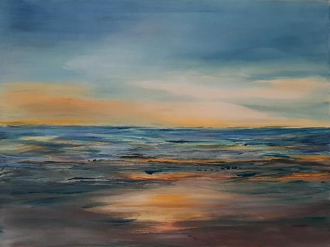 Abendstimmung am Meer, Acryl auf Leinwand