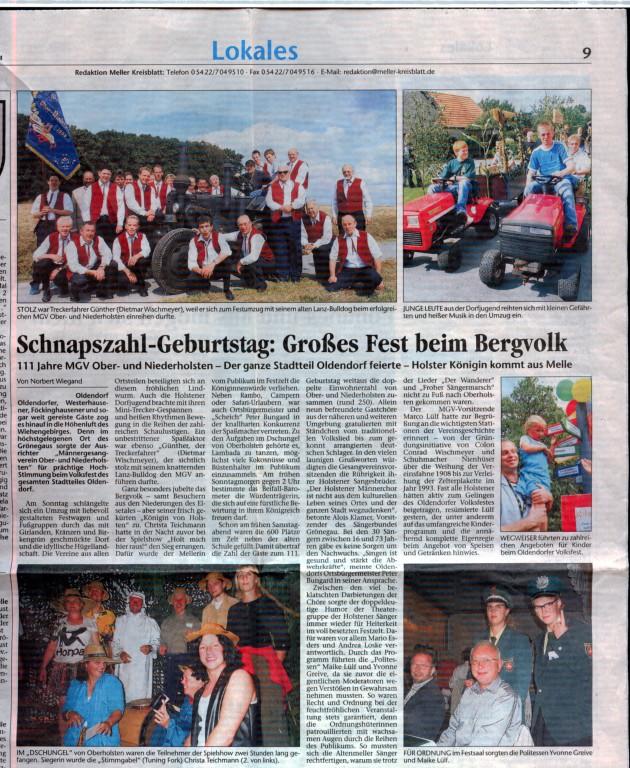 23.08.2004 Meller Kreisblatt über unser Volksfest