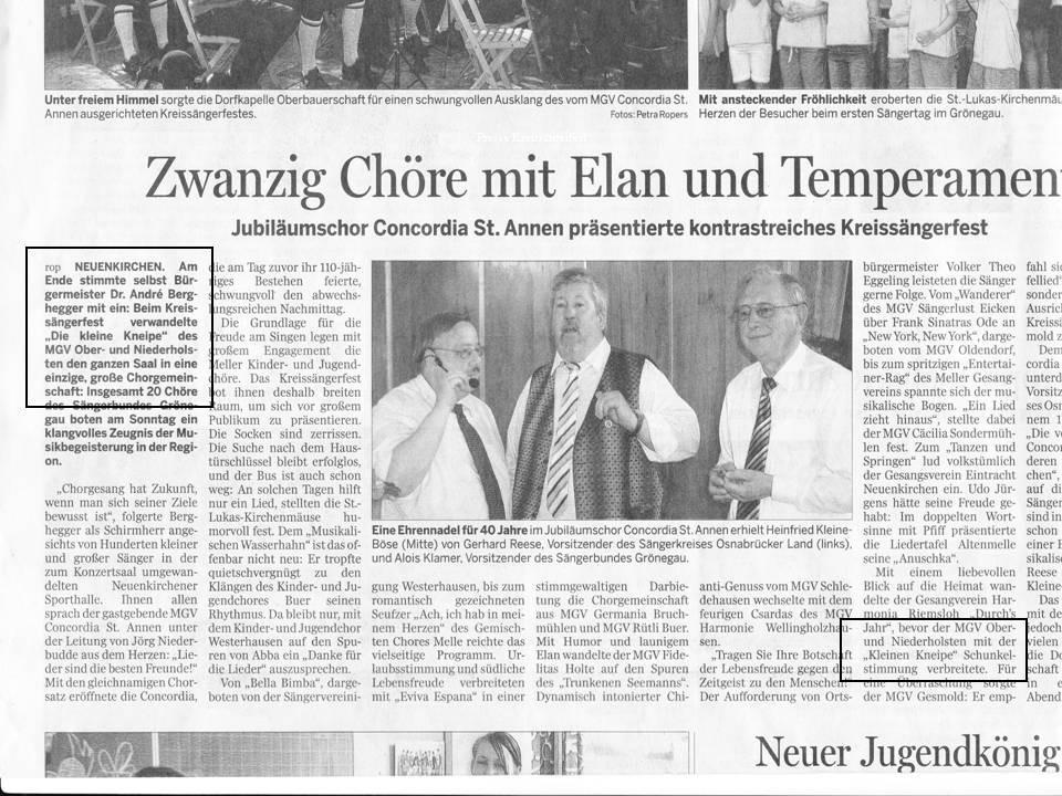 10.06.2008 Meller Kreisblatt berichtet vom Kreissängerfest St.Annen
