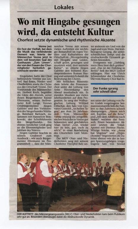 25.10.2004 Wittlager Kreisblatt über das Venner Chorfest