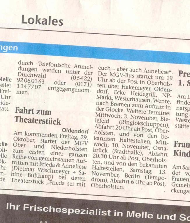 """28.10.2004 Unser """"Tourplan 2004"""" im Meller Kreisblatt"""