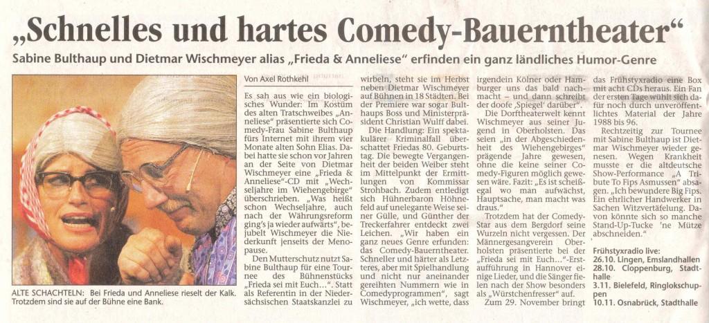 28.10.2004 Vorbericht NOZ über Frieda & Anneliese, sowie Würstchenfresser