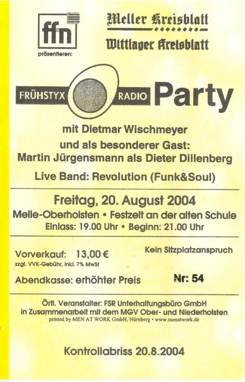15.08.2004 Eintrittskarte FSR Party