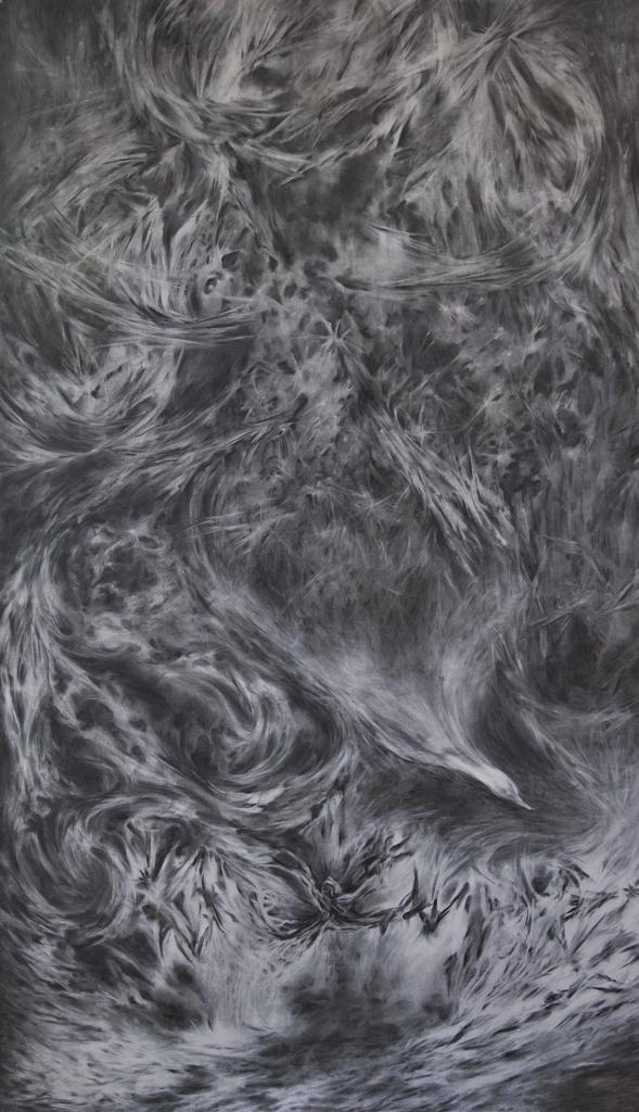 Paradijs of schepping, 2013. Houtskool op papier, 220x140cm.
