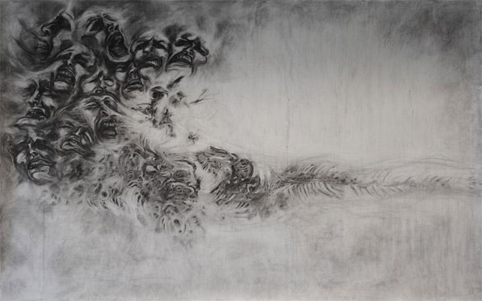 z.t. 2011. Houtskool op papier, 150x250cm.