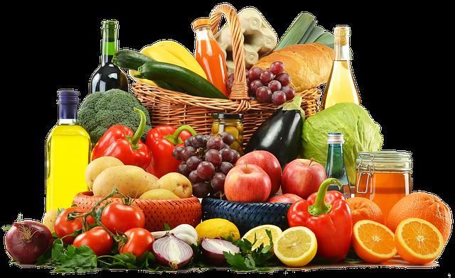 Gemüse und OBst  Öl Honig in Körben Lebensmittel Nahrungsmittel Ernährung