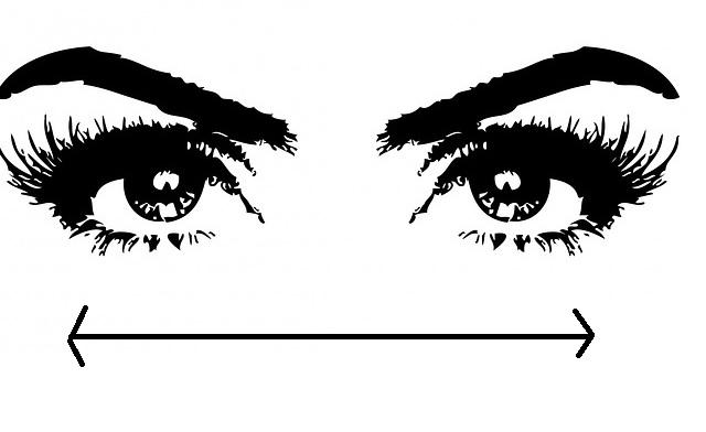2 Augen und Brauen gemalt mit Strich untendrunter zur Augenführung rechts und links EMDR