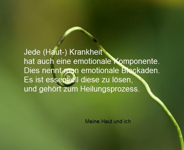 grüner Hintergrund mit Zarter wachsender Pflanze und Spruch und SChriftzug, (Haut-)Krankheit
