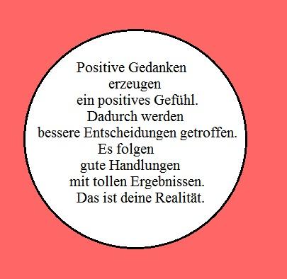 Quadrat in alt-rosa, mit Kreis und Text über positive Gedanken
