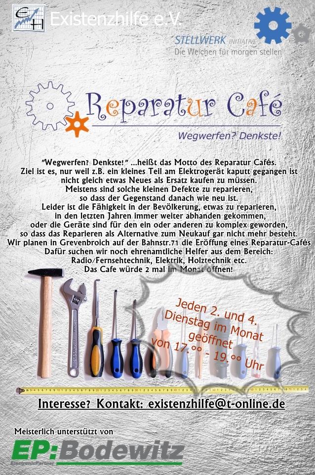 Gemeinsam mit der Existenzhilfe Grevenbroich e.V. und meisterlich unterstützt von EP: Bodewitz wollen wir auf der Bahnstraße71 im Stellwerk Büro ein Reparatur  Café eröffnen. Wir starten am Dienstag, den 14.5.2019 um 19.°° Uhr.
