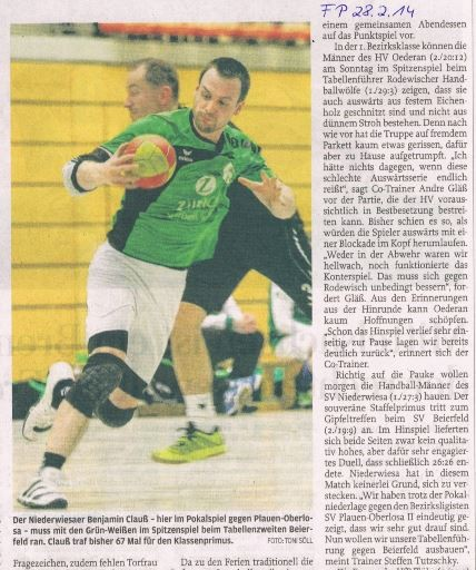 Ankündigung - Freie Presse Flöha vom 28.02.2014