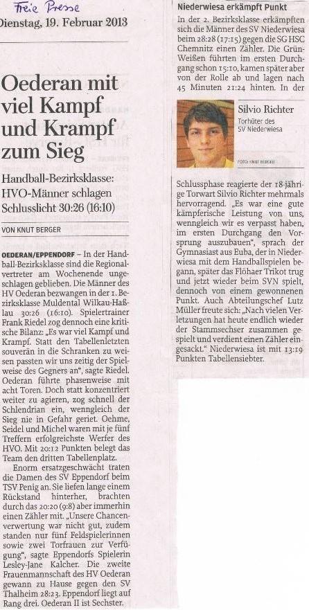 Freie Presse Flöha vom 19.02.2013
