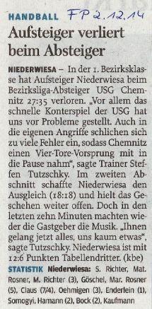 Freie Presse Flöha vom 02.12.2014
