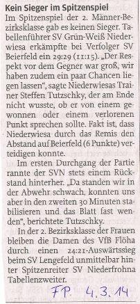 Bericht - Freie Presse Flöha vom 04.03.2014