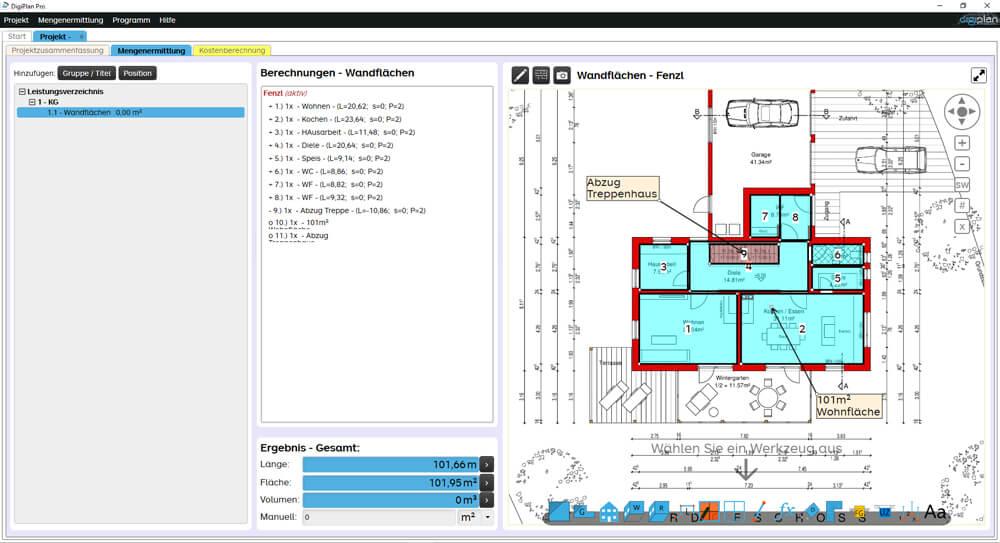 Sie sehen links die übernommenen Mengen, mittig die Berechnungen und rechts die grafische Darstellung am Plan.