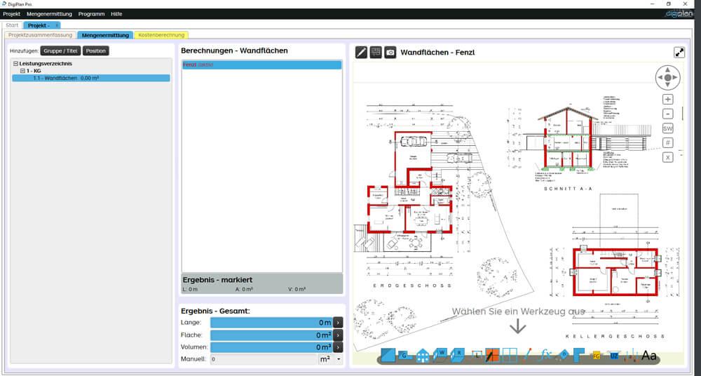 Alles bereit! Wählen Sie rechts unten ein Werkzeug um Berechnungen am Plan zum machen. Mit F4 zoomen Sie.