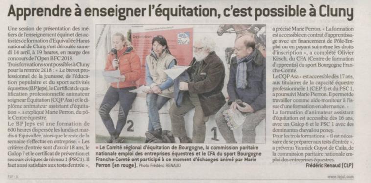 Article paru dans Le Journal de Saône et Loire le 21 avril 2018